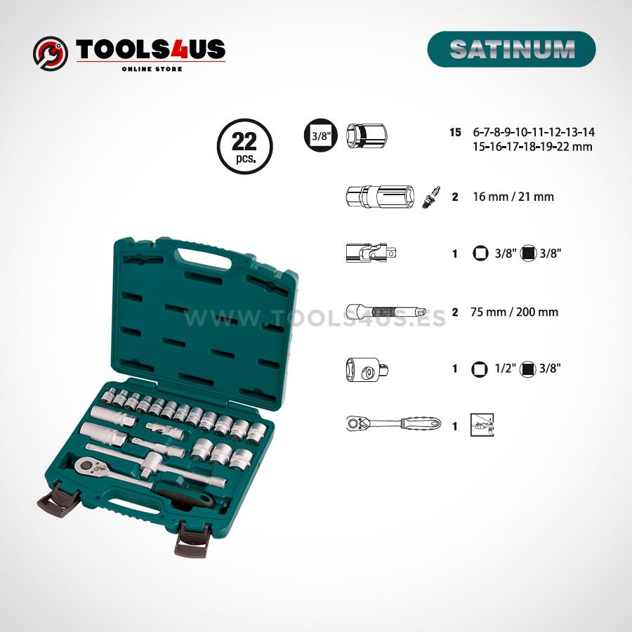 104 SATINUM maletin carraca llaves vasos puntas allen herramientas barcelona 02 - Juego llaves de vaso con carraca de 3/8 SATINUM (22 piezas)