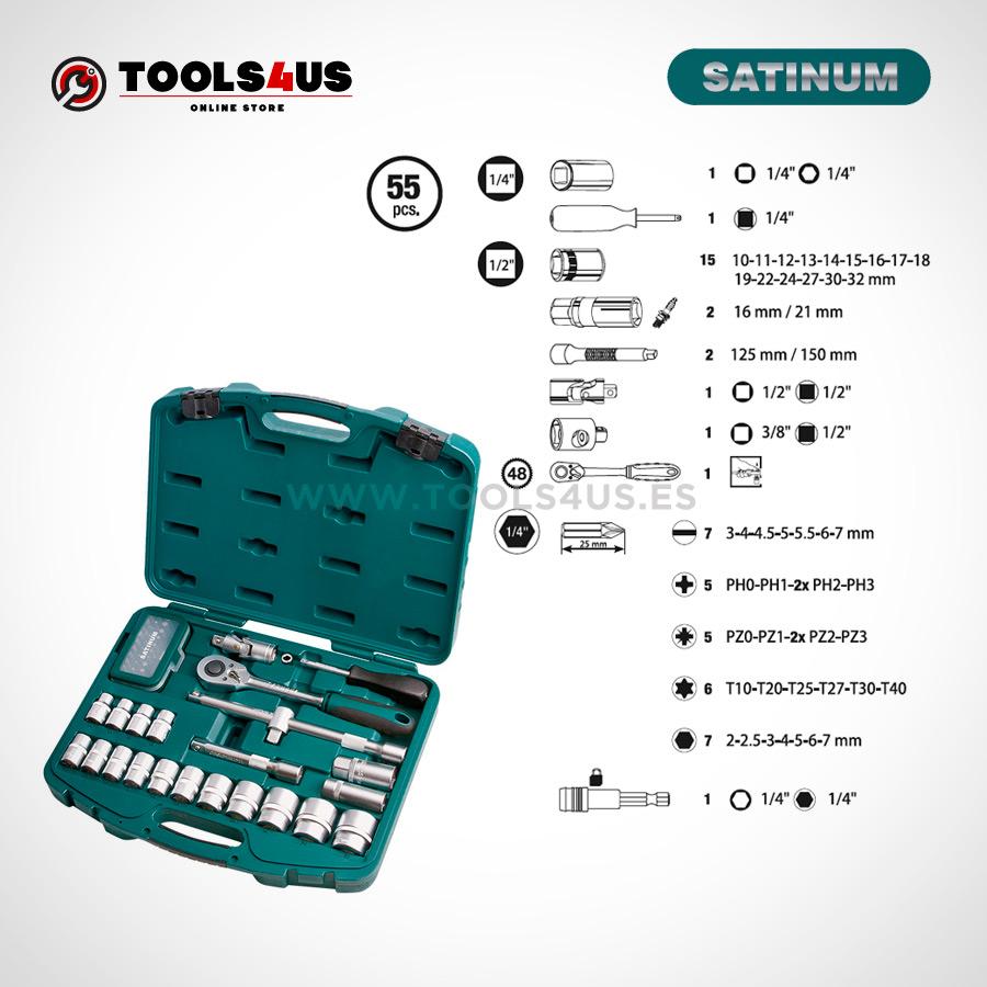 106 SATINUM maletin carraca llaves vasos puntas allen herramientas barcelona 02 - Juego llaves de vaso con carraca de 1/4 SATINUM (55 piezas)