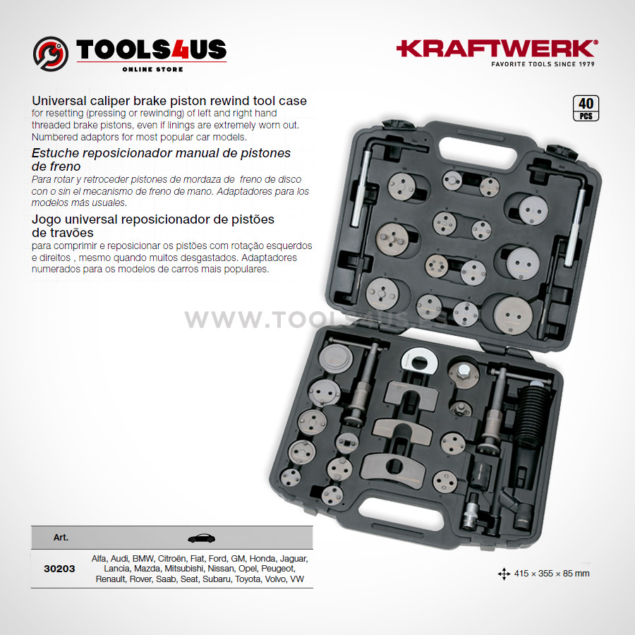 30203 KRAFTWERK herramientas taller barcelona Kit reposicionador manual pistones de freno 02 - Kit reposicionador manual de pistones de freno