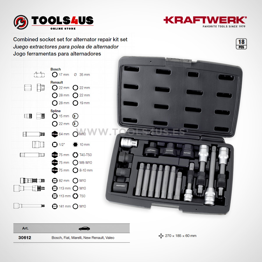 30612 KRAFTWERK herramientas taller barcelona espana Juego extractores polea alternador 02 - Juego extractores para polea de alternador