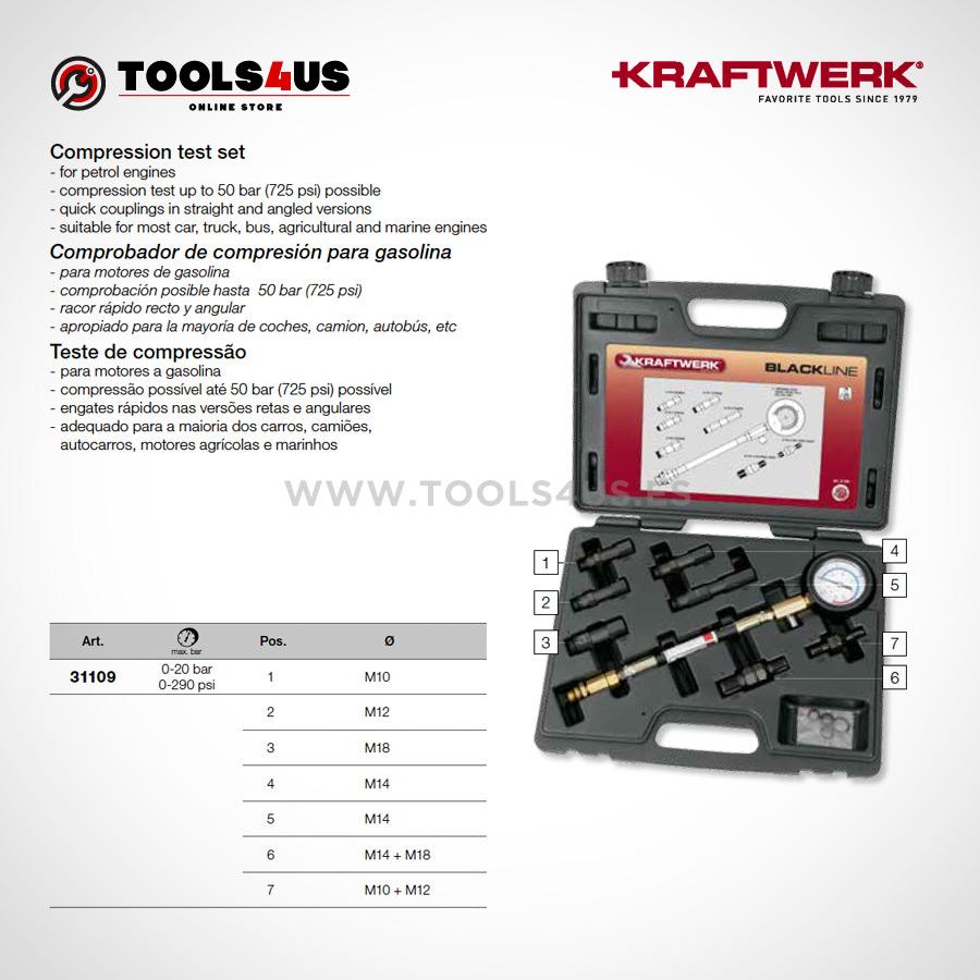 31109 KRAFTWERK herramientas taller barcelona espana Comprobador compresion analogico Motores Gasolina 02 - Comprobador de compresión analógico (Motores Gasolina)