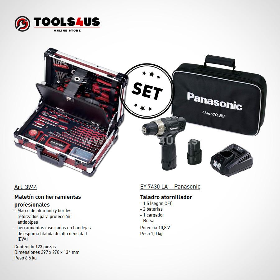SET2 PROMO TALADRO PANASONIC MALETA KRAFTWERK 01 - SET Taladro Atornillador Inalámbrico Panasonic EY7430LA2S + Maleta de Herramientas Profesional en Aluminio (123 piezas)