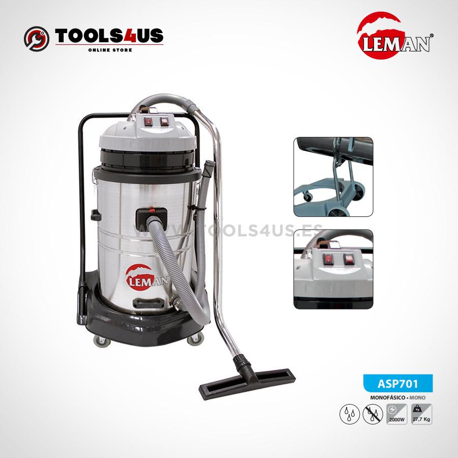 ASP701 Aspirador Industrial INOX 70L 1200W Leman 02 - Aspirador Industrial INOX 70L 2000W Leman ASP701