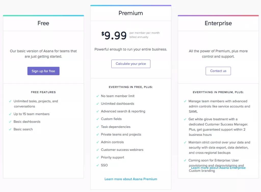 asana pricing