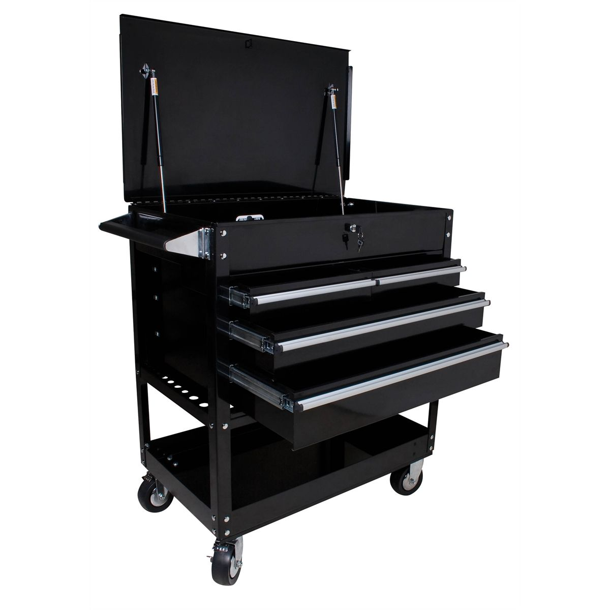 4 Drawer Locking Top Service Cart  Black  Sunex Tools