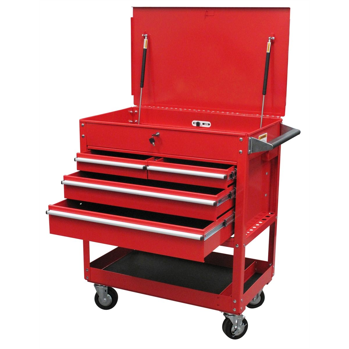 4 Drawer Locking Top Service Cart  Red  Sunex Tools  8054