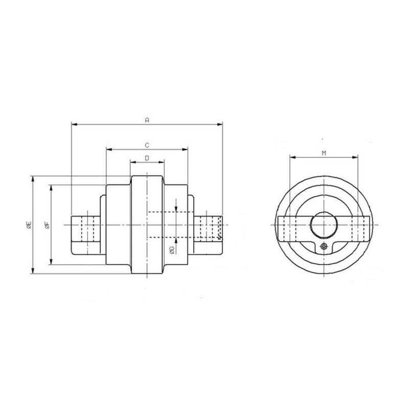 Galet inférieur pour mini-pelle KUBOTA KH35 / KH36 / KH41