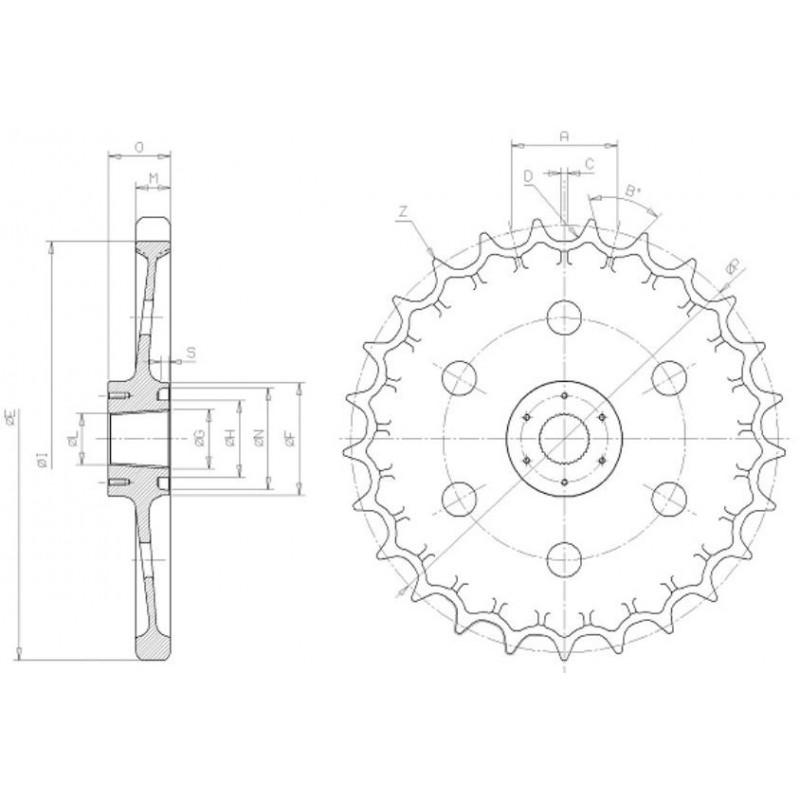 Barbotin pour mini-pelle KUBOTA KH026 / KH51.2 / KH61 / KH66
