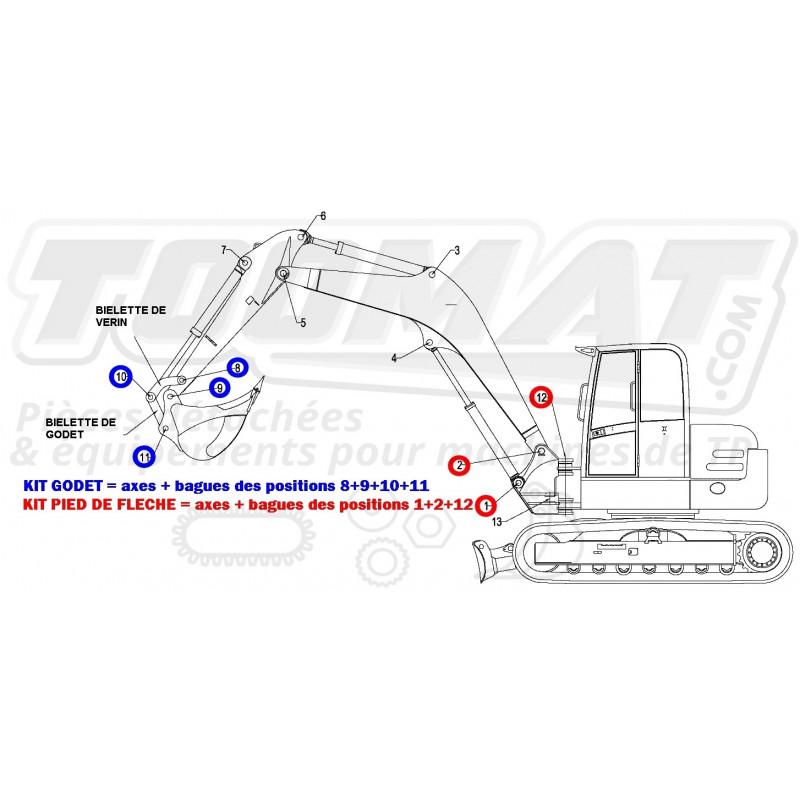 Kit pied de fleche (axes et bagues 1/2/12/13) pour KUBOTA