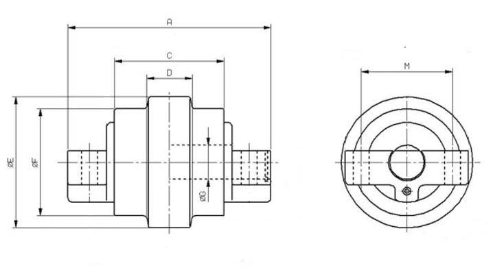 Galet inférieur pour mini-pelle KUBOTA KH36 / KH41 / KX36