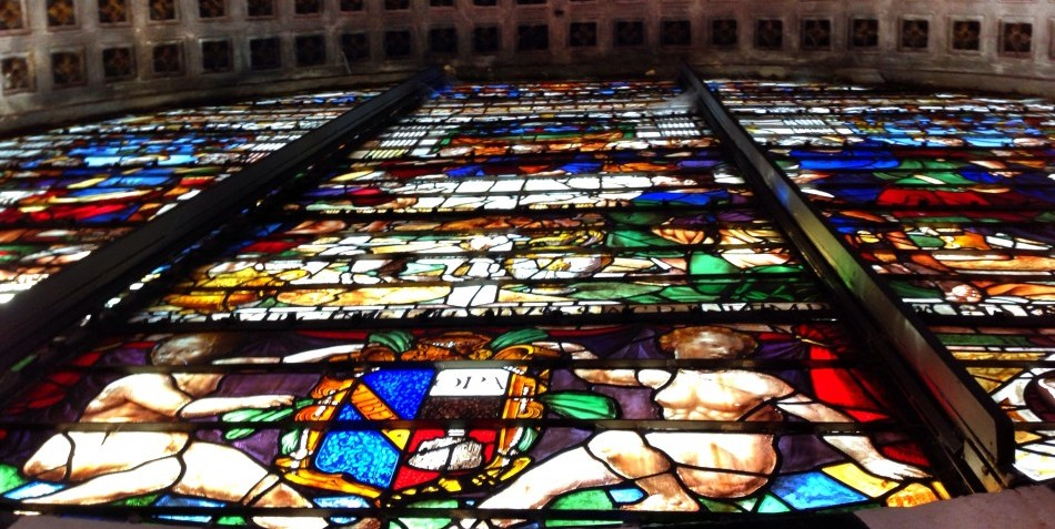 The large rosone window of Siena Duomo