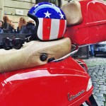 Annie's helmet and red Vespa