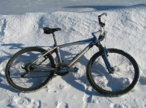 My mountain bike at the ice rink