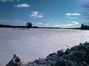 Rice Lake - the cool thing about this picture is the island with a picnic table only in the winter (or by boat in the summer)