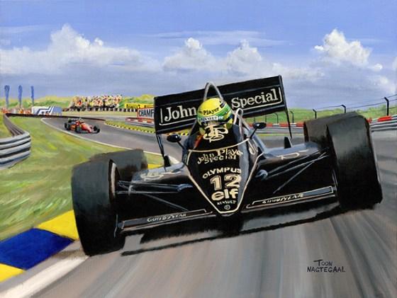 Ayrton Senna in de Lotus 97T op Zandvoort in 1985. Acryl op canvas, 60x80 cm.