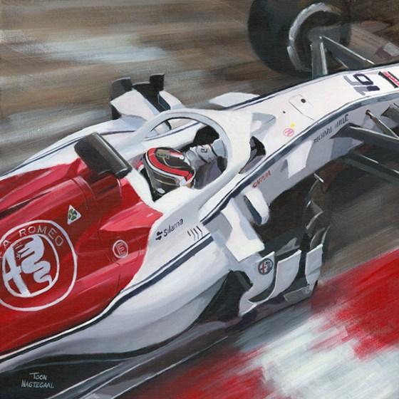 Charles Leclerc in de Alfa Romeo Sauber. Schilderij door Toon Nagtegaal. Acrylverf op canvas, 60x60cm.