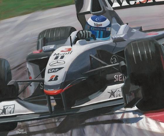 Mika Häkkinen, McLaren MP4-16. Acrylverf op canvas, 120x100cm