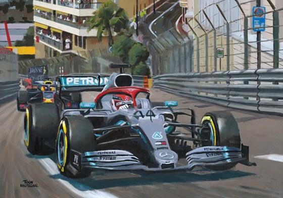 Lewis Hamilton wint de GP van Monaco (2019). Acrylverf op canvas, 100x70 cm.