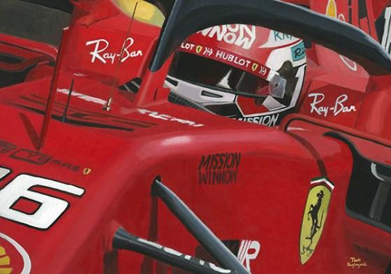Charles Leclerc, Ferrari SF90 (2019), acrylverf op canvas, 100 x 70 cm