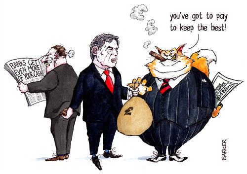 Fat cat bankers, cartoon