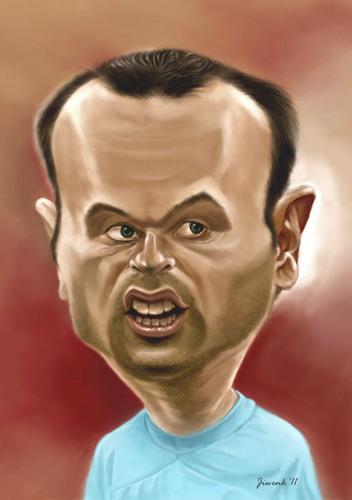 Cartoon: Iniesta (medium) by Jiwenk tagged iniesta