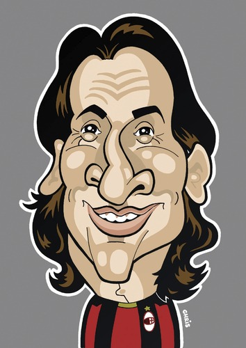 Cartoon: Zlatan Ibrahimovic AC Milan (medium) by Ca11an tagged zlatan,ibrahimovic,caricature,ac,milan,world,cup,legends,book,football,caricatures,soccer