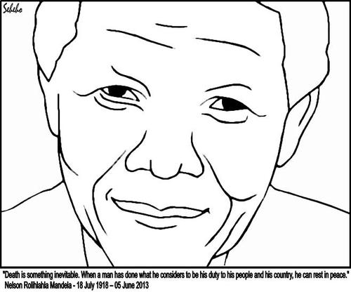 Nelson Mandela Drawing Easy Sketch Coloring Page