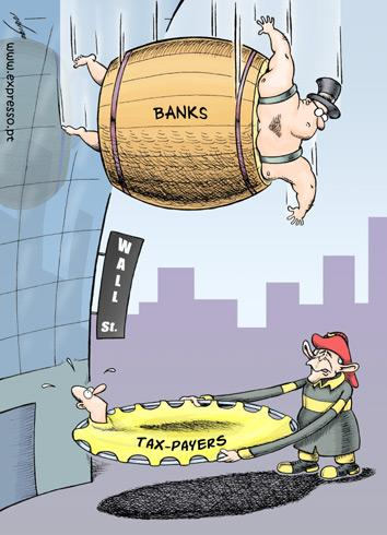 Bankers and the financial crisis, cartoon