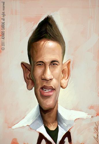 Cartoon: Neymar (medium) by alvarocabral tagged caricature