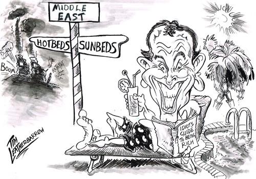 Tony Blair's wars and riches, cartoon