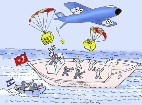 Cartoon: mavi marmara (medium) by muharrem akten tagged mavi,marmara,israel,insani,yardim,turkiye,birlesmis,milletler,operasyon,karikatur,muharrem,akten,humor