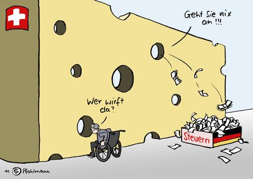 Cartoon: Deutsch-Schweizer Käse (medium) by Pfohlmann tagged karikatur,color,farbe,2011,deutschland,schweiz,löcher,käse,steuer,steuern,steuerabkommen,vertrag,abkommen,vereinbarung,steuersünder,steuerhinterziehung,schäuble,finanzminister,anonymität,anonym,schlupflöcher,konto,konten,geld,schweiz,löcher,deutschland,steuer,käse,steuern,steuerabkommen,vereinbarung,abkommen,steuersünder