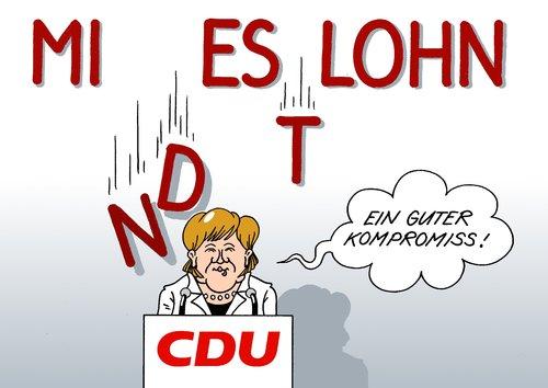 Cartoon: Kompromiss (medium) by Erl tagged cdu,partei,parteitag,bundeskanzlerin,vorsitzende,angela,merkel,mindestlohn,lohnuntergrenze,lohn,kompromiss,mies,cdu,partei,bundeskanzlerin,parteitag,vorsitzende,merkel,mindestlohn,lohnuntergrenze,lohn,kompromiss,arbeit,job,gehalt