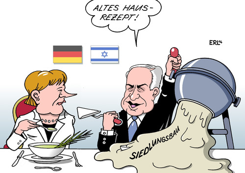 Cartoon: Merkel Netanjahu (medium) by Erl tagged bundeskanzlerin,angela,merkel,deutschland,israel,premierminister,benjamin,netanjahu,nahost,friede,konflikt,palästinenser,palästina,siedlungsbau,beton,mörtel,betonmischer,essen,bundeskanzlerin,angela,merkel,deutschland,israel,premierminister,benjamin,netanjahu,nahost,friede,konflikt,palästinenser,palästina,siedlungsbau,beton,mörtel,betonmischer,essen