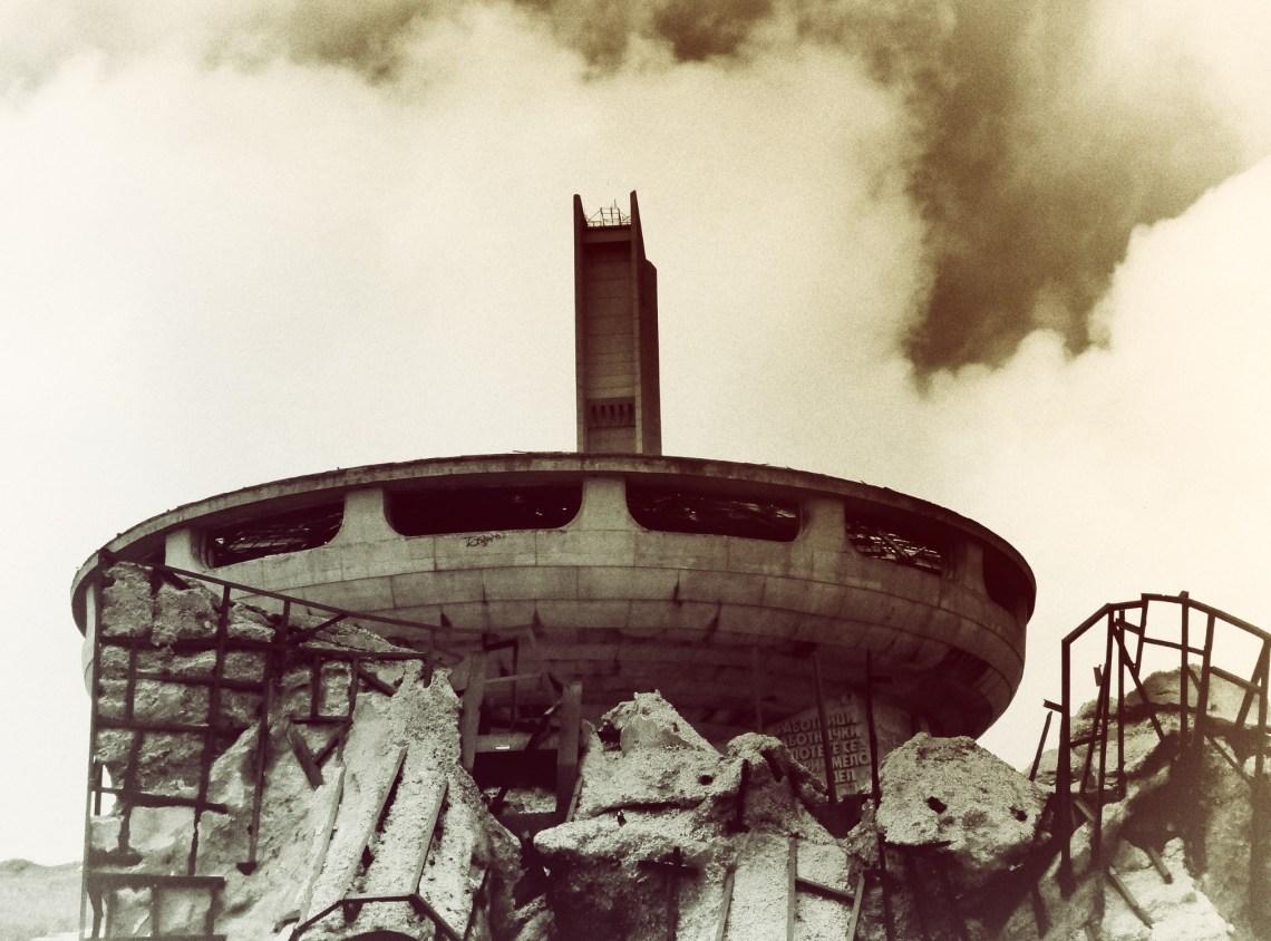 Sepia photo of Buzludzha Monument