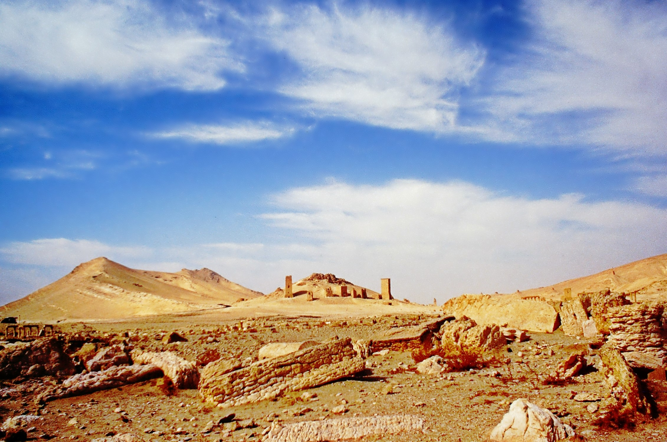Desert landscape with ruins in the distance