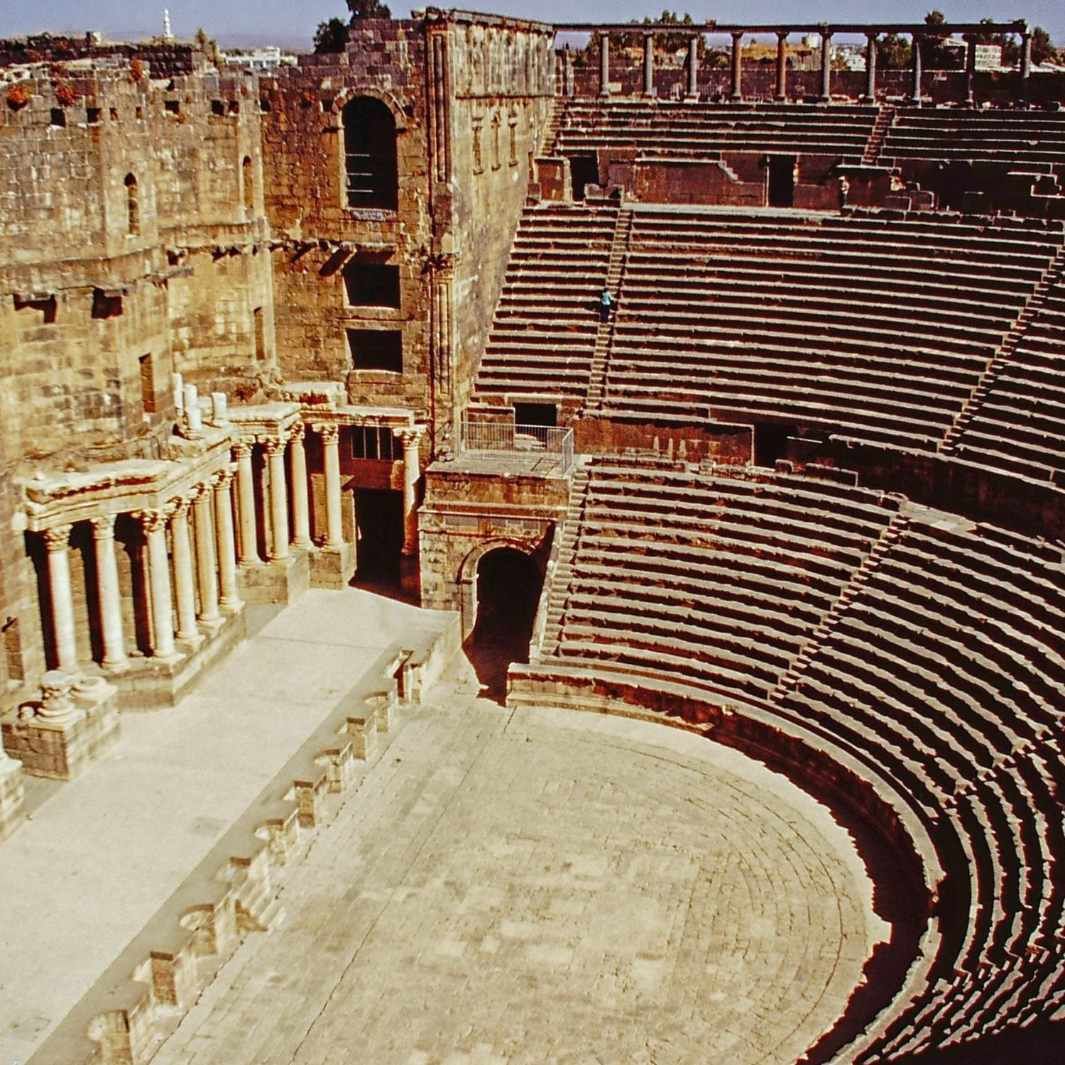 Looking down at the stage of a Roman theatre