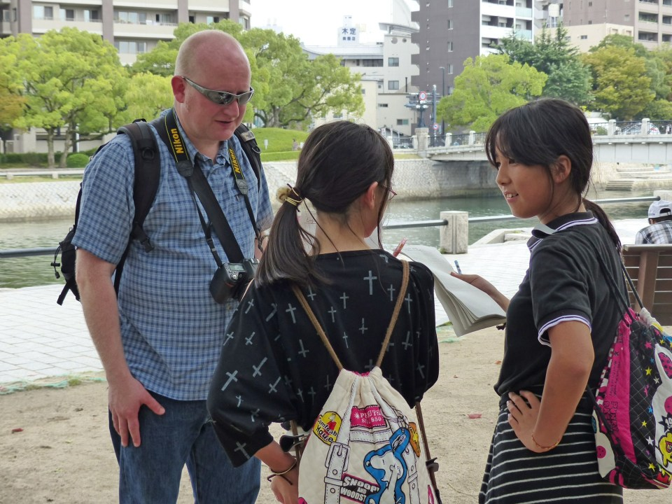 Children interviewing a visitor to the Hiroshima Peace Park