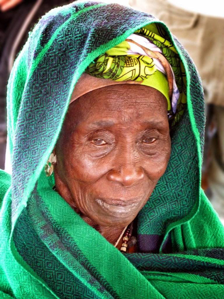 Woman in green fabric wrap