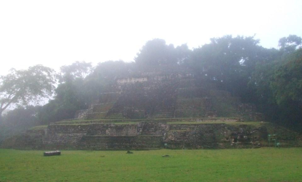 Maya pyramid on a foggy day