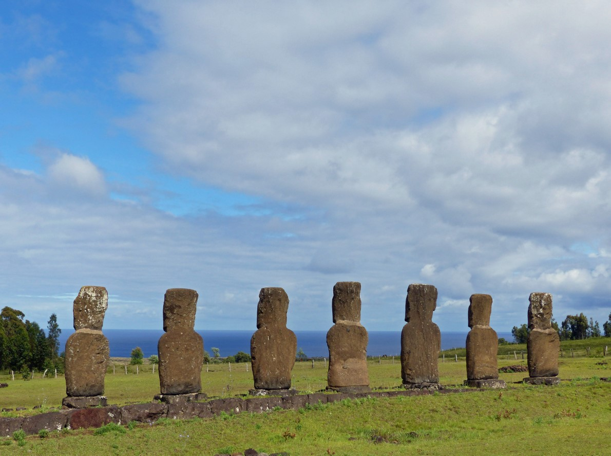 Row of seven moai from behind with the sea beyond