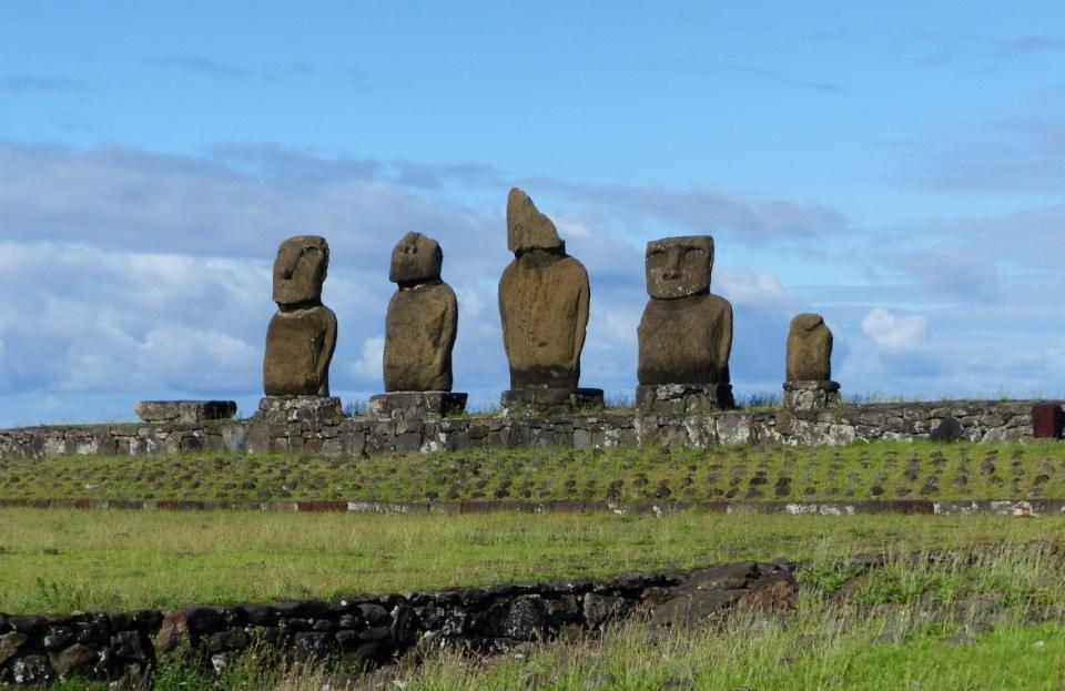 Row of five moai