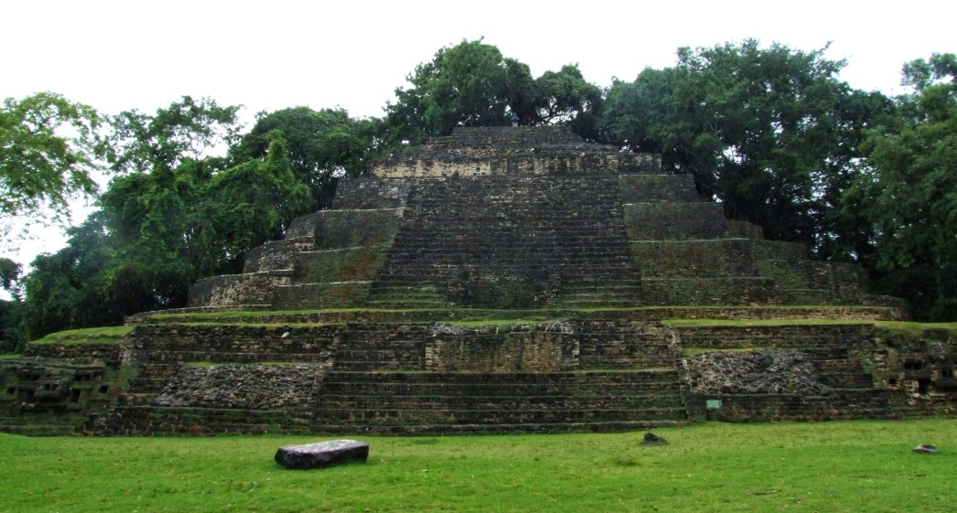 Tall Mayan temple with steps