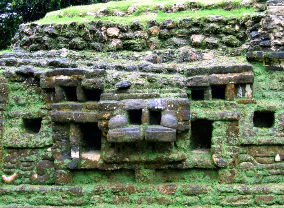 Stone face covered in lichen