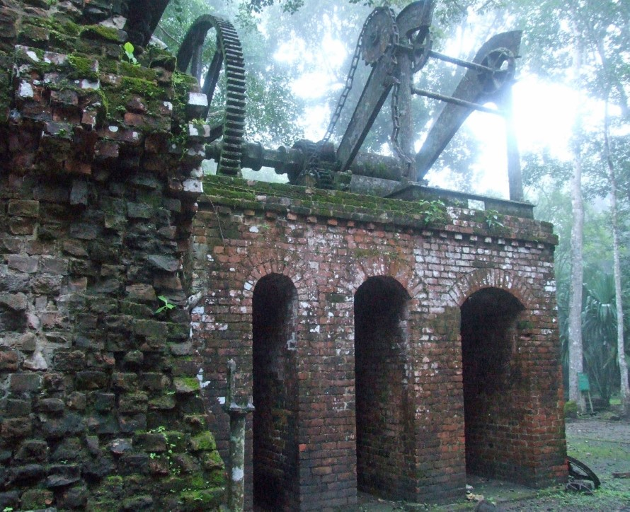 Brick arches and iron pulleys