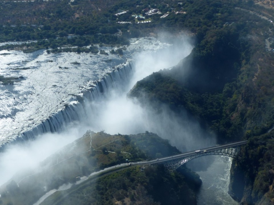 Aerial view of large waterfall