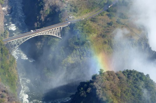 Bridge and rainbow from the air