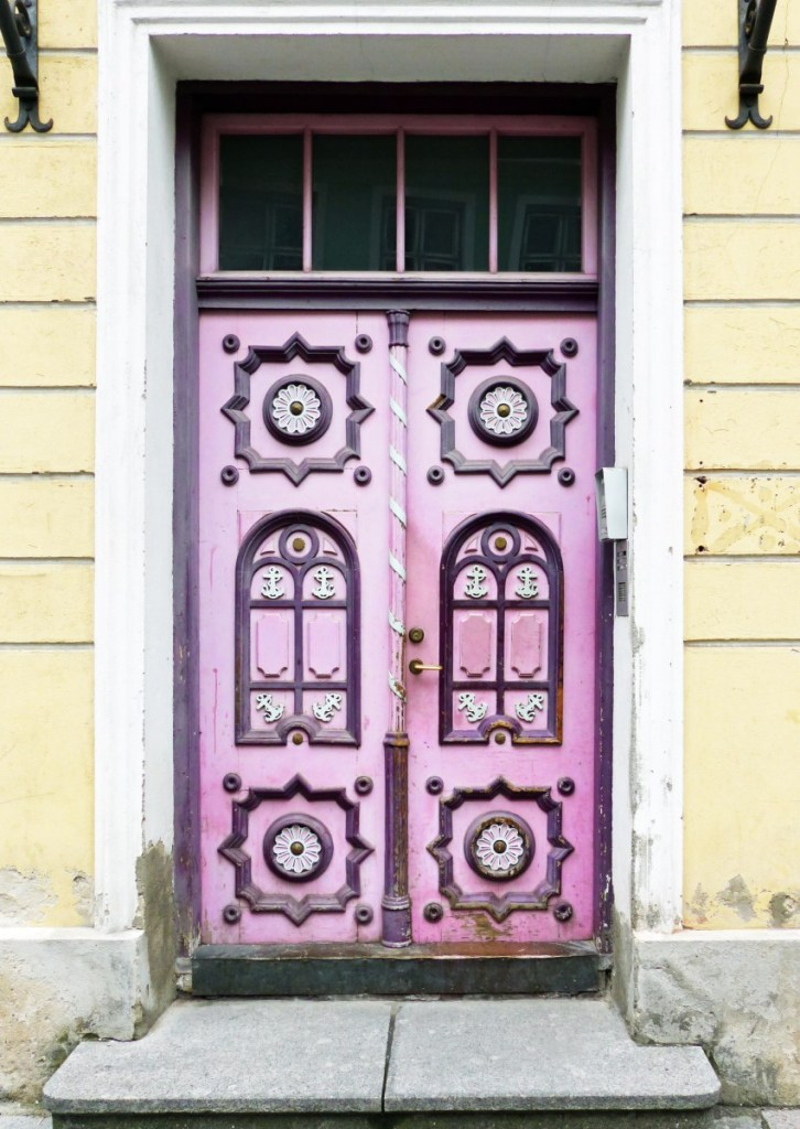 Ornate pink door