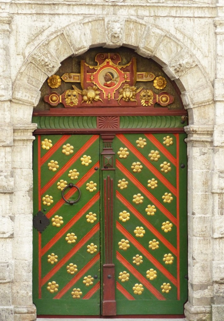 Ornate green and gold door