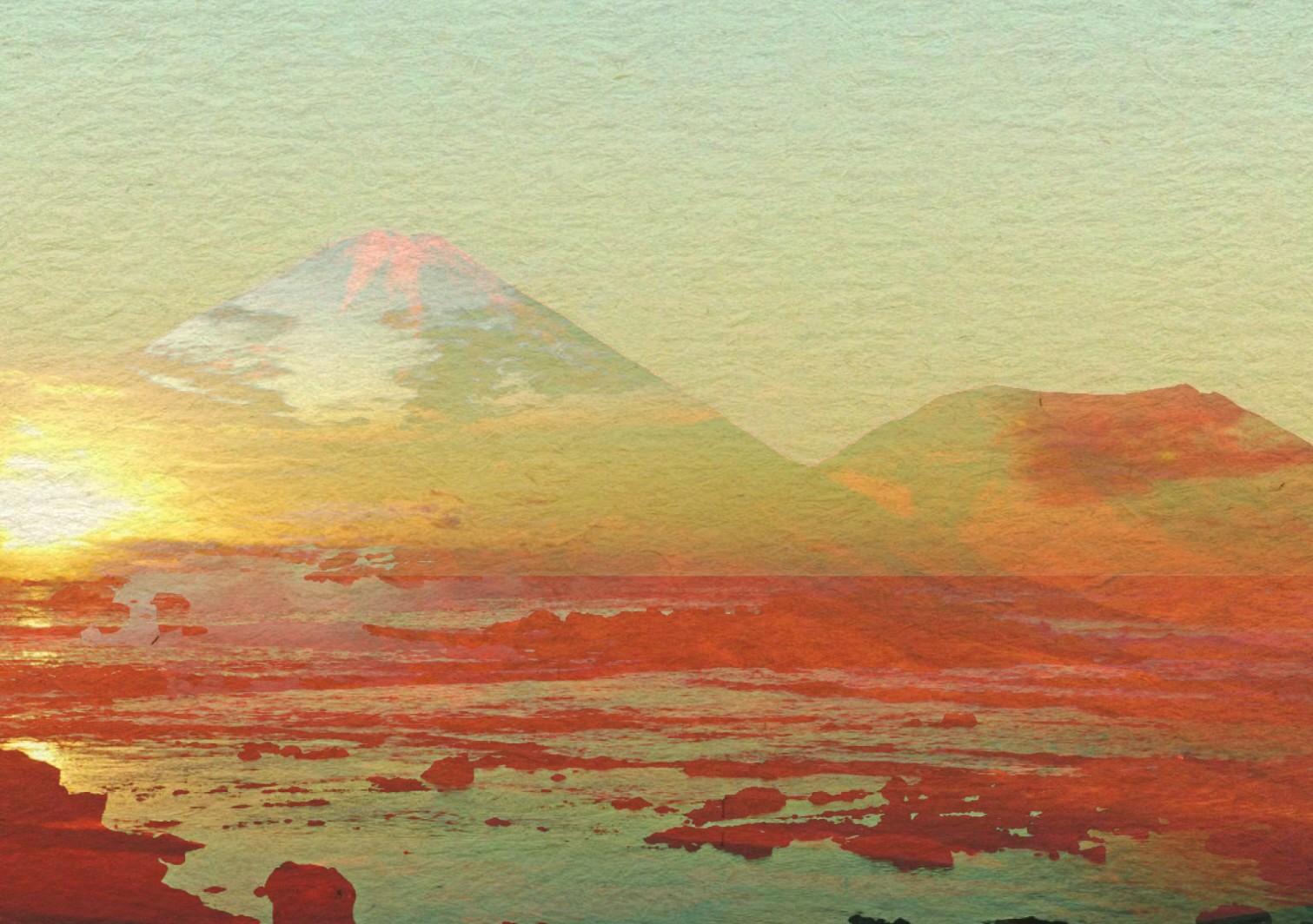 Manipulated photo of desert sunset